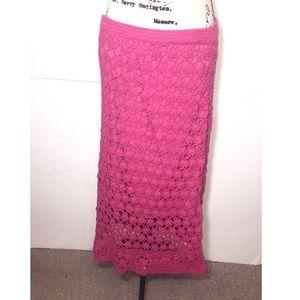 Boston Proper Crochet Knit Maxi Skirt Stretch